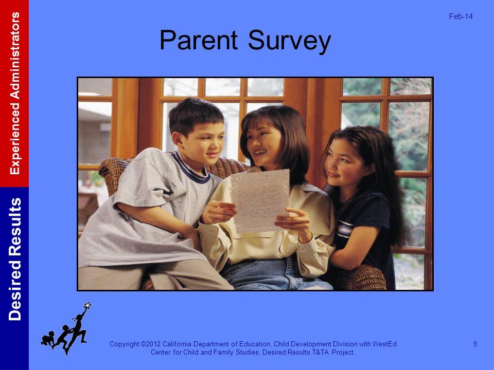 Mar-17 Parent Survey. The Parent Survey is the assessment tool to evaluate parents' satisfaction with programs.