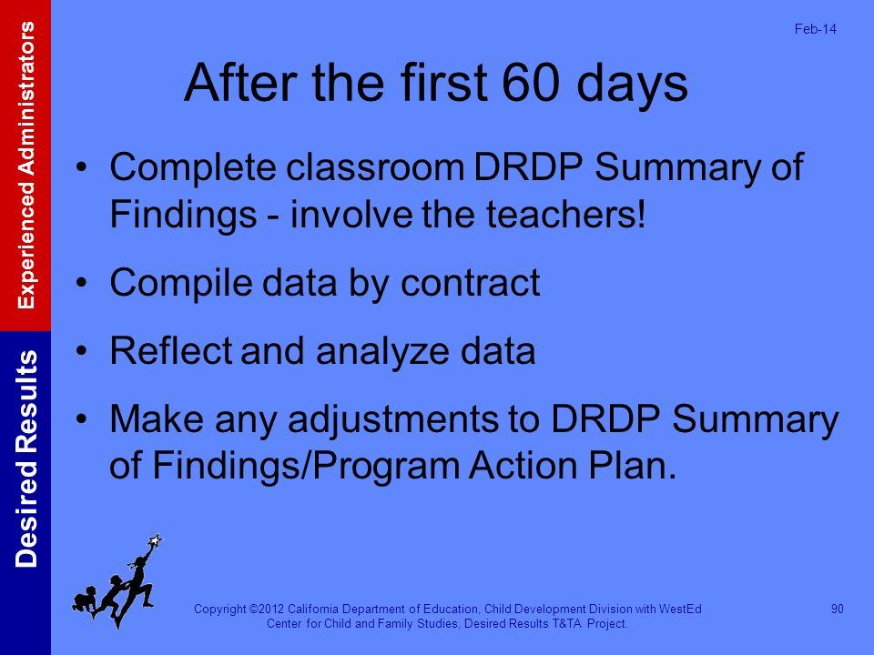 Mar-17 After the first 60 days. Complete classroom DRDP Summary of Findings - involve the teachers!