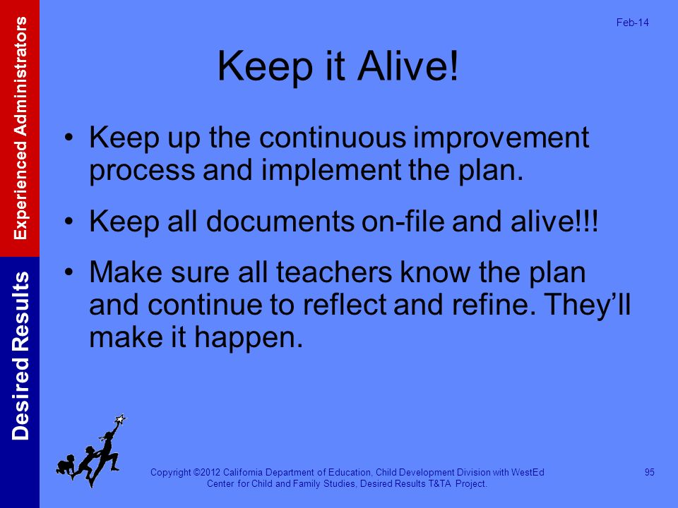 Mar-17 Keep it Alive! Keep up the continuous improvement process and implement the plan. Keep all documents on-file and alive!!!