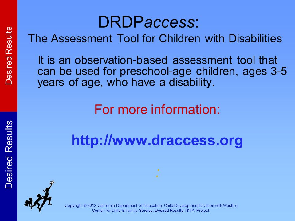 DRDPaccess: The Assessment Tool for Children with Disabilities