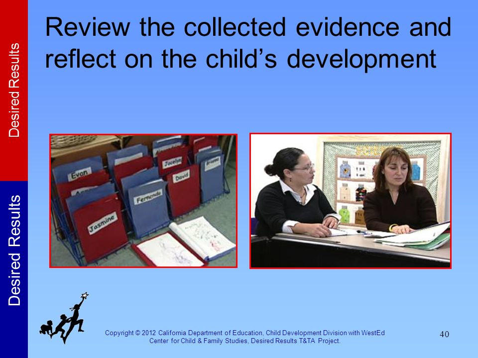 Review the collected evidence and reflect on the child's development