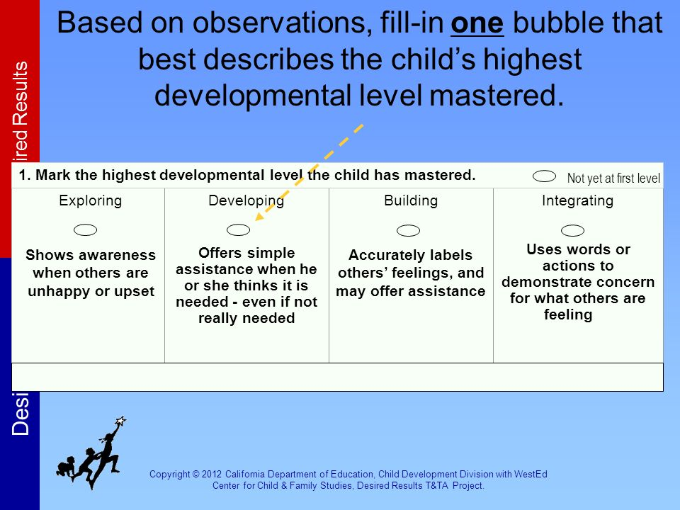 Based on observations, fill-in one bubble that best describes the child's highest developmental level mastered.