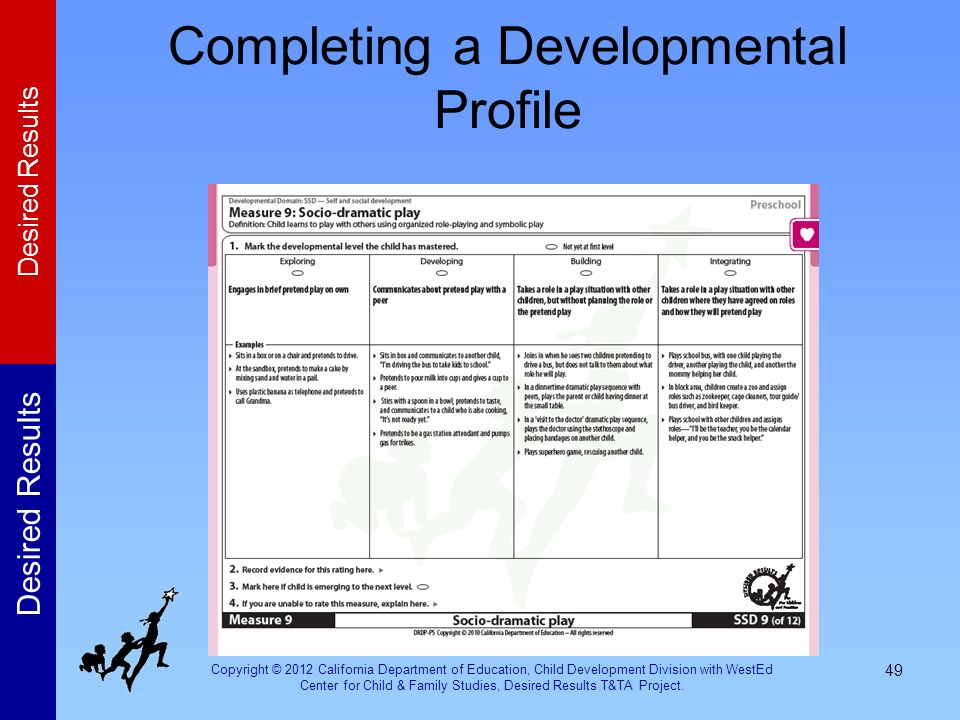 Completing a Developmental Profile