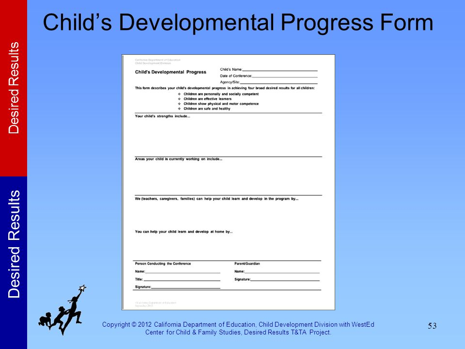 Child's Developmental Progress Form