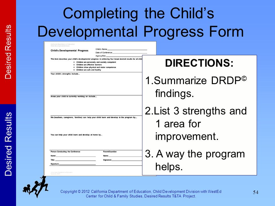 Completing the Child's Developmental Progress Form