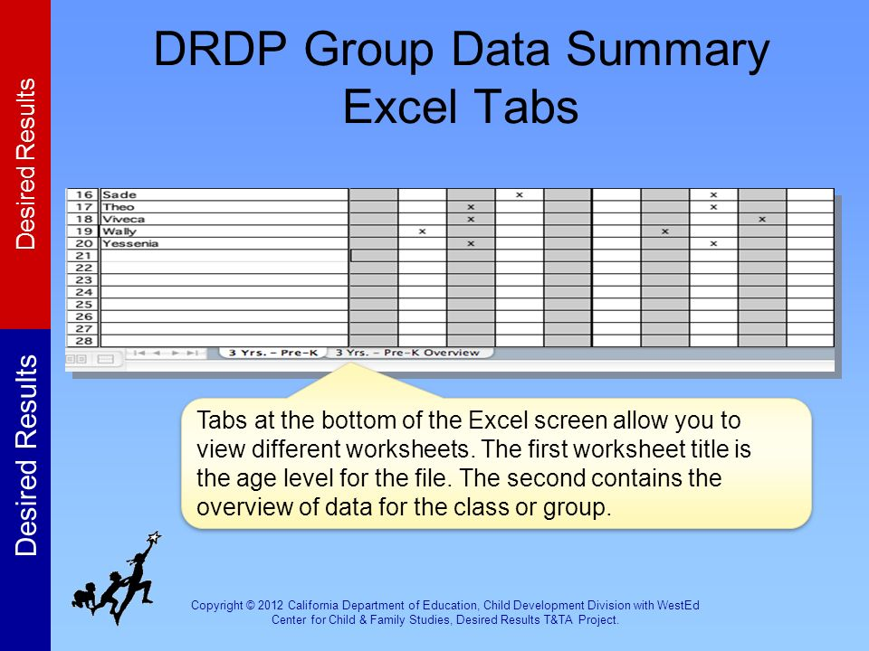 DRDP Group Data Summary Excel Tabs