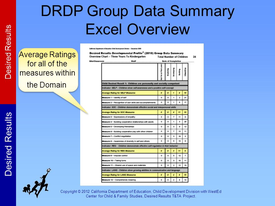 DRDP Group Data Summary Excel Overview