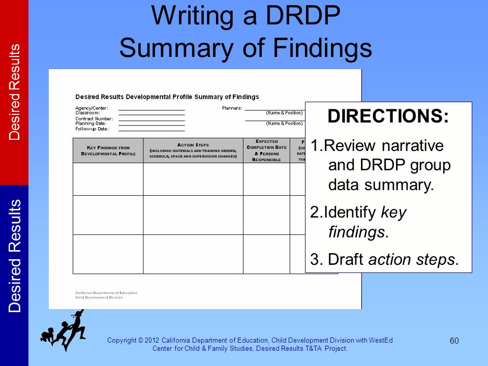 Writing a DRDP Summary of Findings