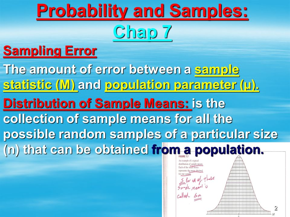 Probability and Samples: Chap 7