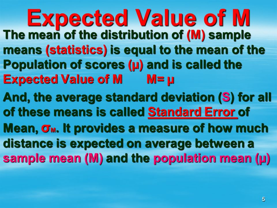 Expected Value of M