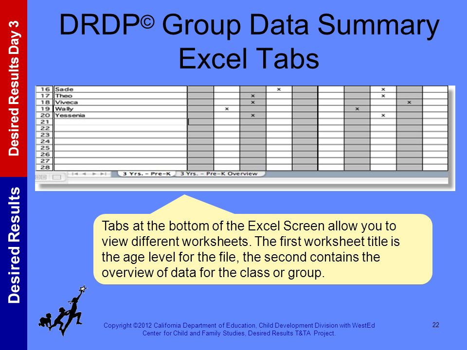 DRDP© Group Data Summary Excel Tabs