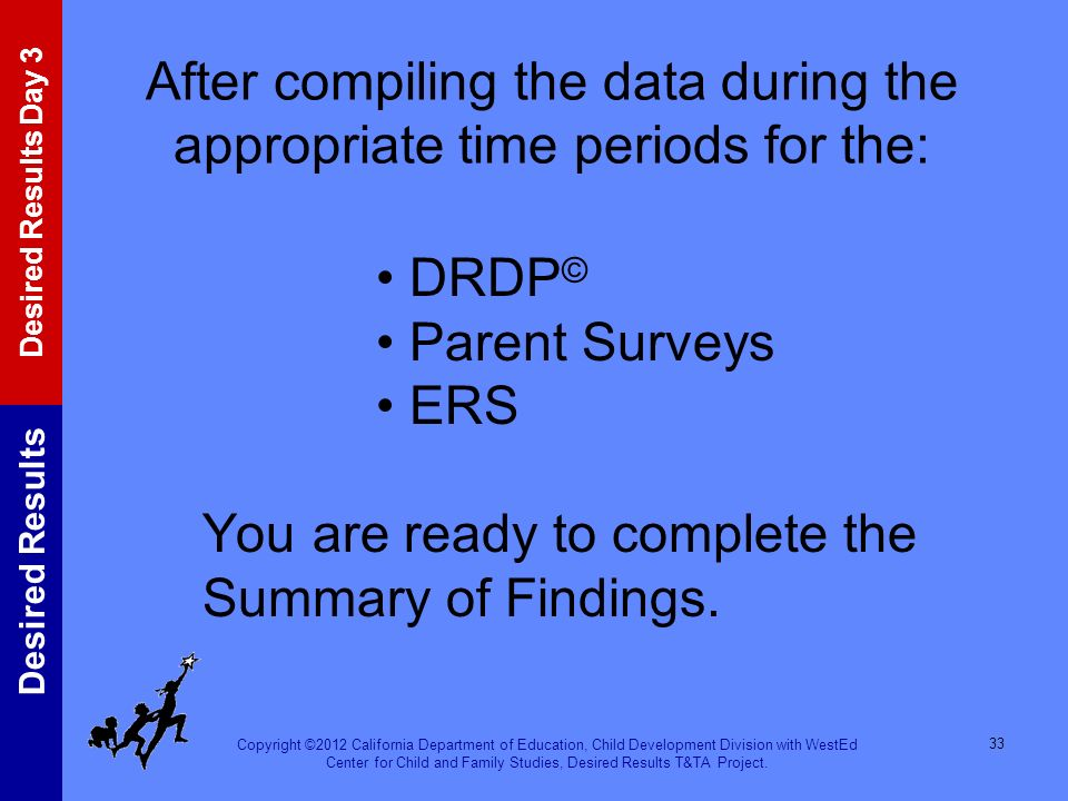 After compiling the data during the appropriate time periods for the: