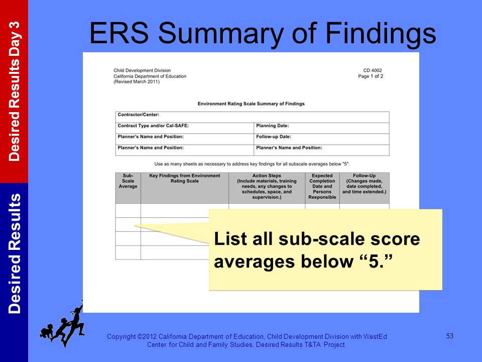 ERS Summary of Findings