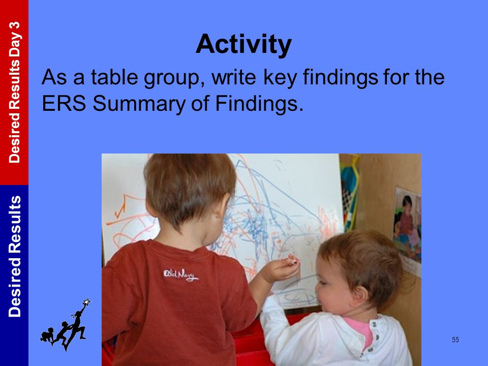 Activity As a table group, write key findings for the ERS Summary of Findings. Allow 10 minutes for this activity.
