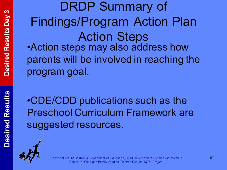 DRDP Summary of Findings/Program Action Plan Action Steps
