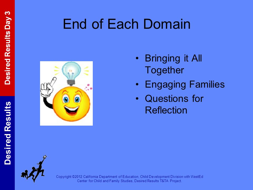 End of Each Domain Bringing it All Together Engaging Families