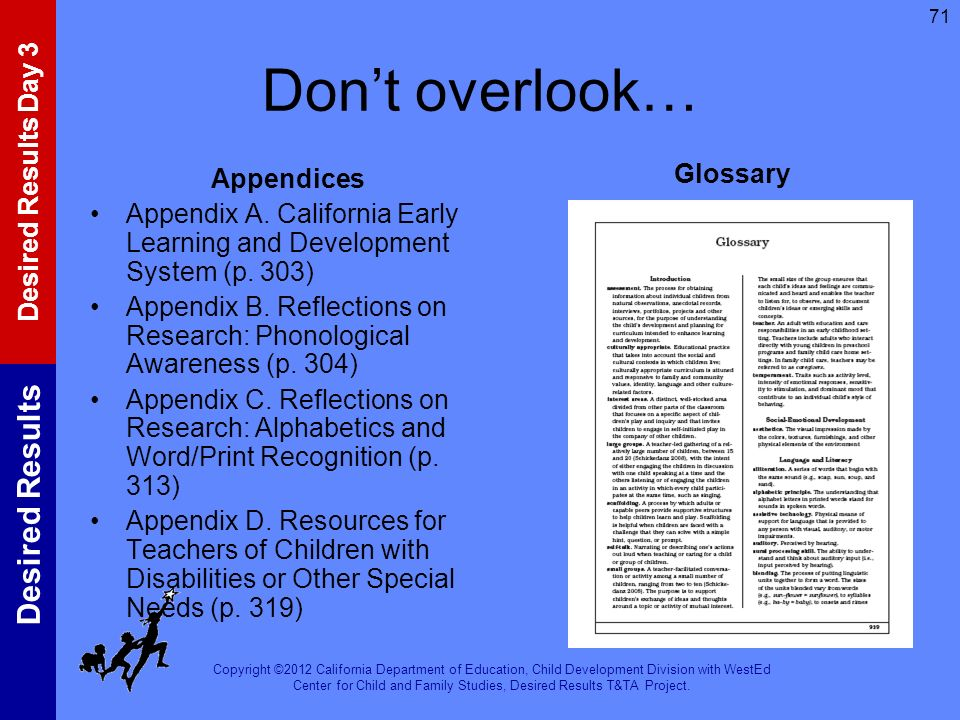 Don't overlook… Glossary Appendices