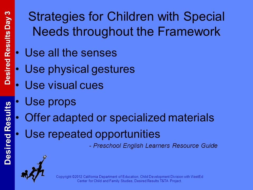 Strategies for Children with Special Needs throughout the Framework