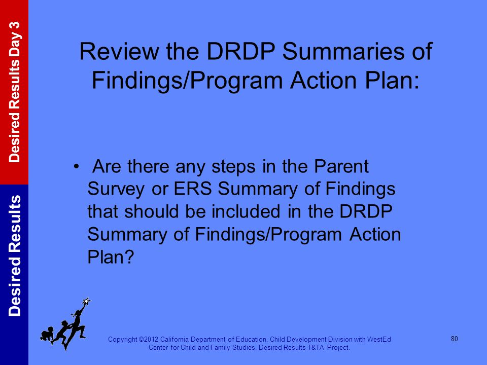 Review the DRDP Summaries of Findings/Program Action Plan: