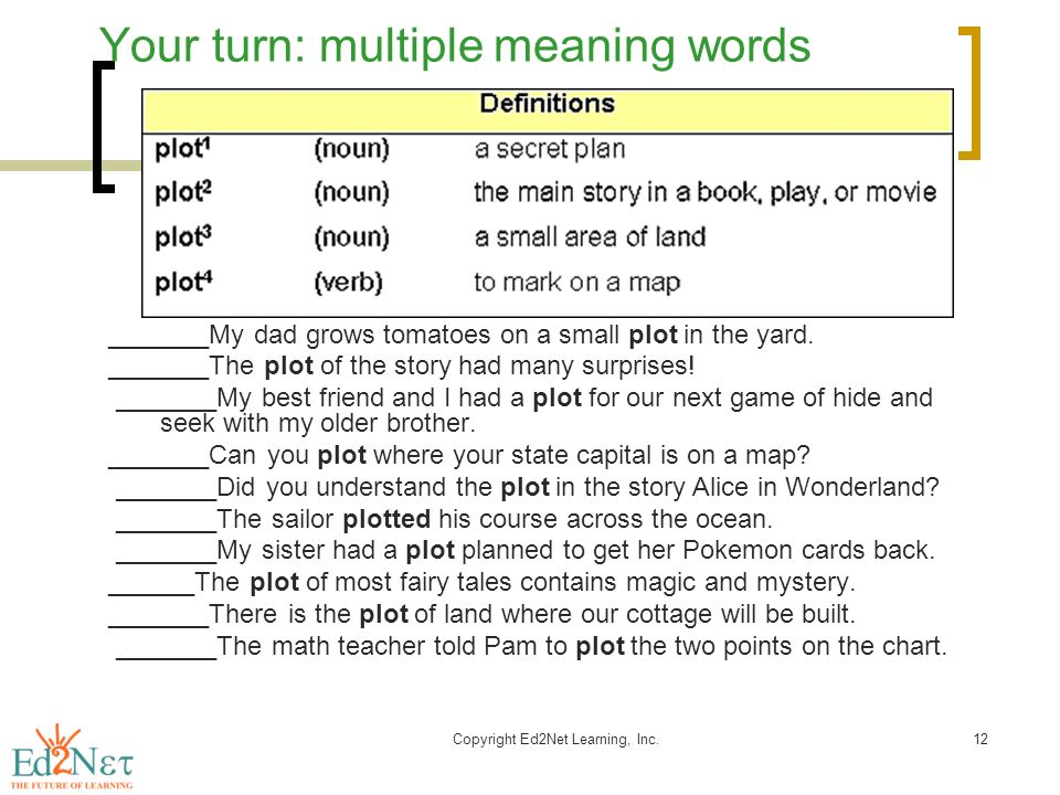 Multiple Meaning Words - Activities, Worksheets, Word Lists, and ...