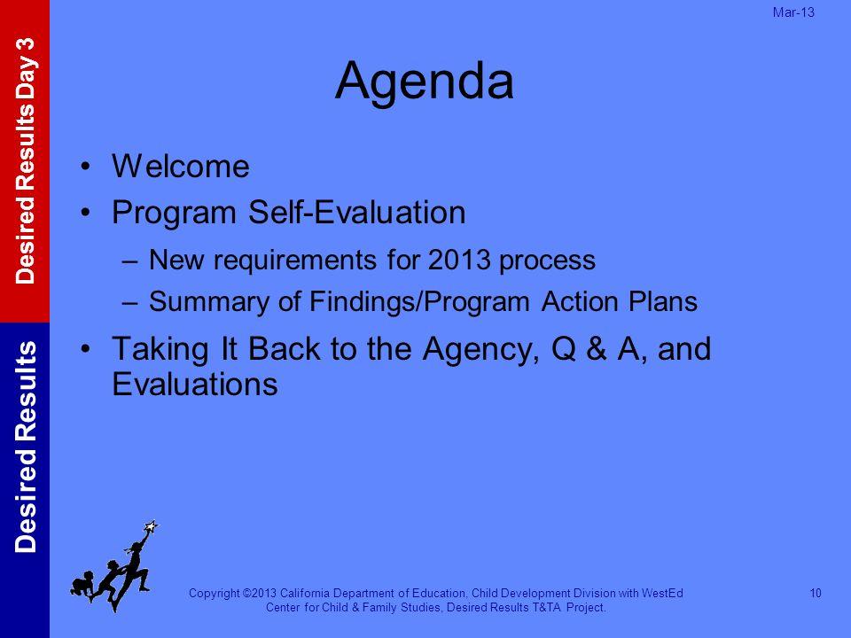 Agenda Welcome Program Self-Evaluation