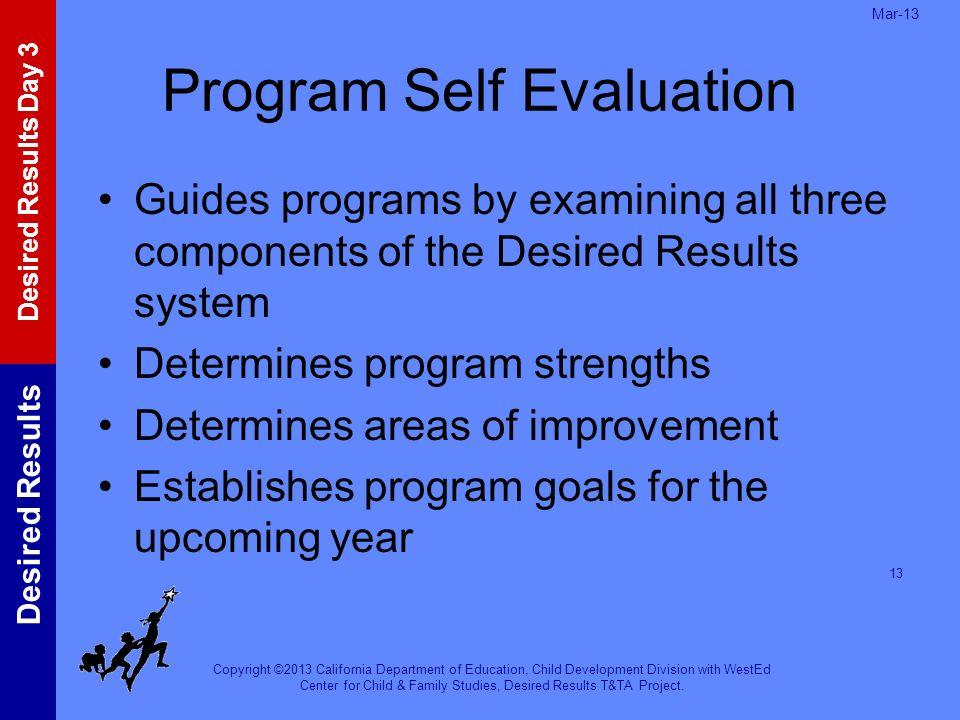 Program Self Evaluation