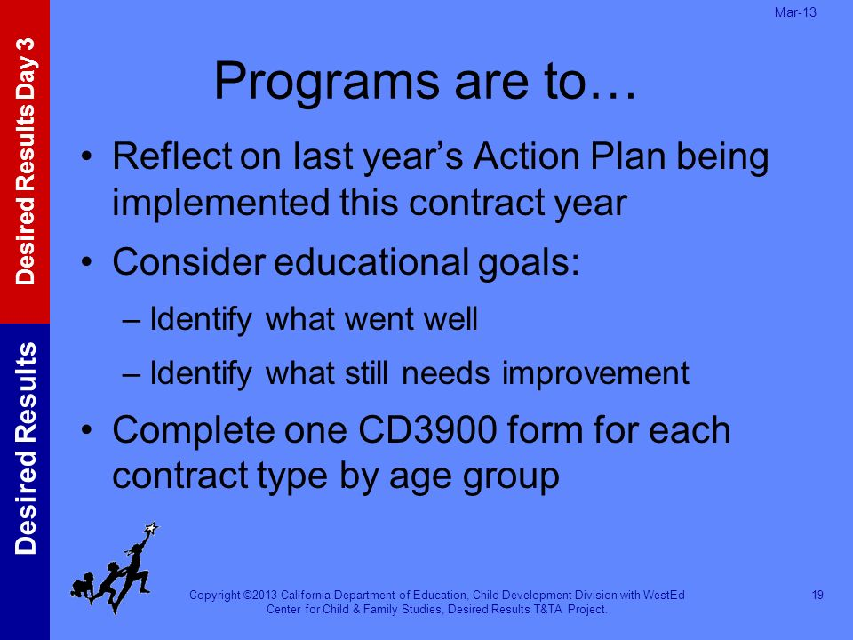 Mar-13 Programs are to… Reflect on last year's Action Plan being implemented this contract year. Consider educational goals:
