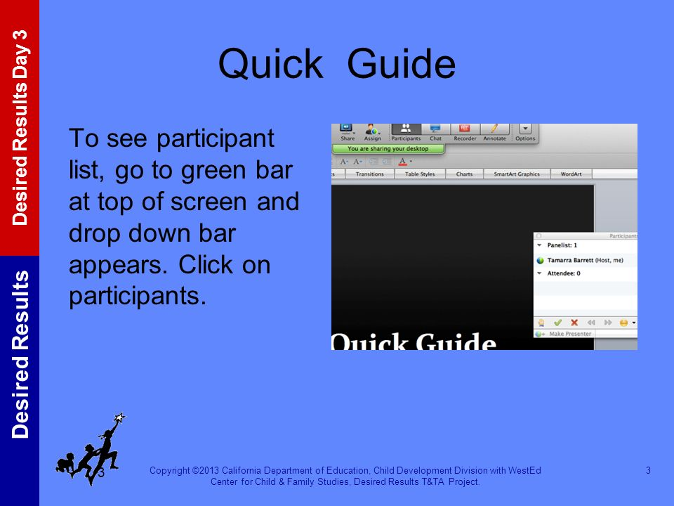 Quick Guide To see participant list, go to green bar at top of screen and drop down bar appears.