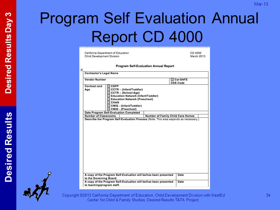 Program Self Evaluation Annual Report CD 4000