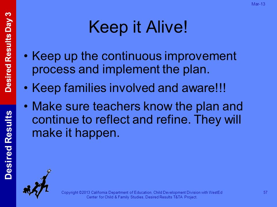 Mar-13 Keep it Alive! Keep up the continuous improvement process and implement the plan. Keep families involved and aware!!!