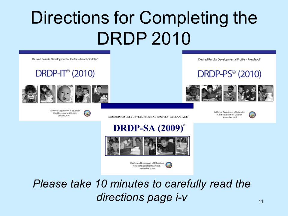 Directions for Completing the DRDP 2010