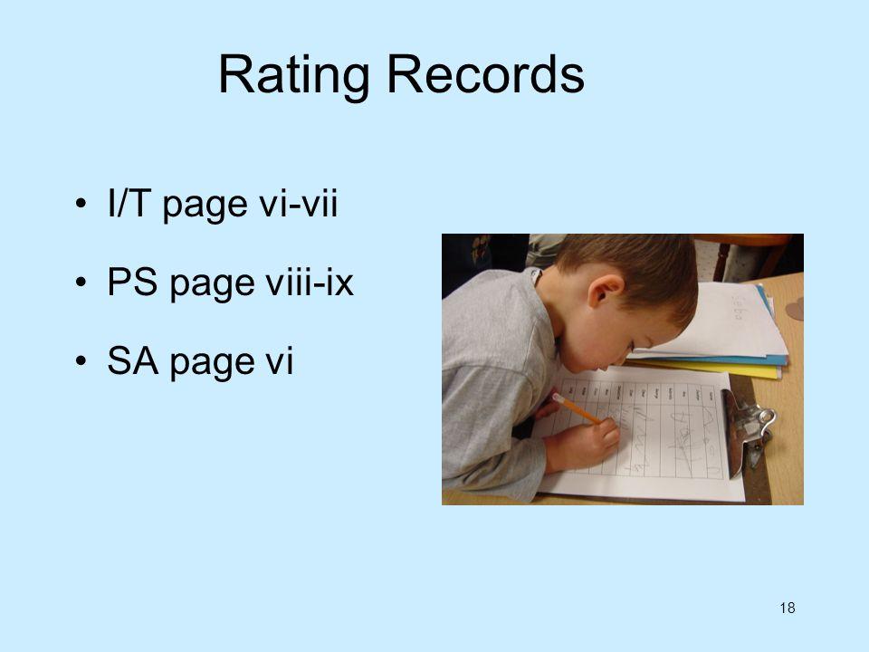 Rating Records I/T page vi-vii PS page viii-ix SA page vi