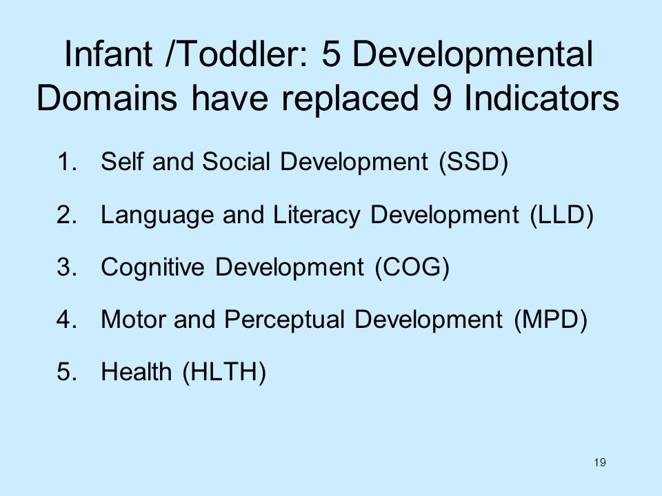 Infant /Toddler: 5 Developmental Domains have replaced 9 Indicators
