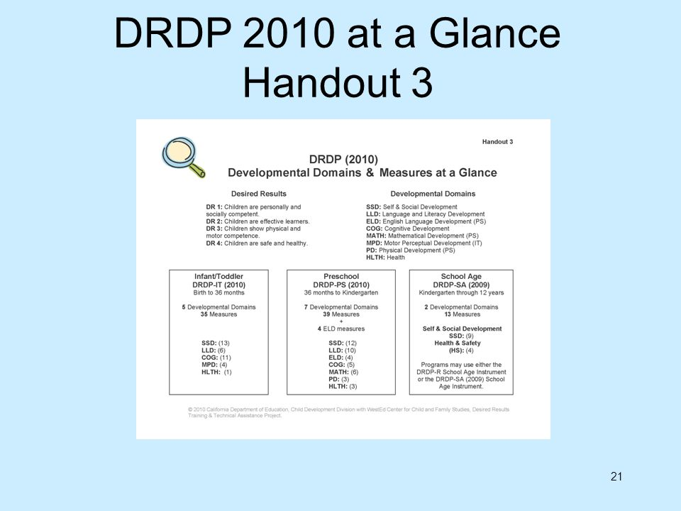 DRDP 2010 at a Glance Handout 3