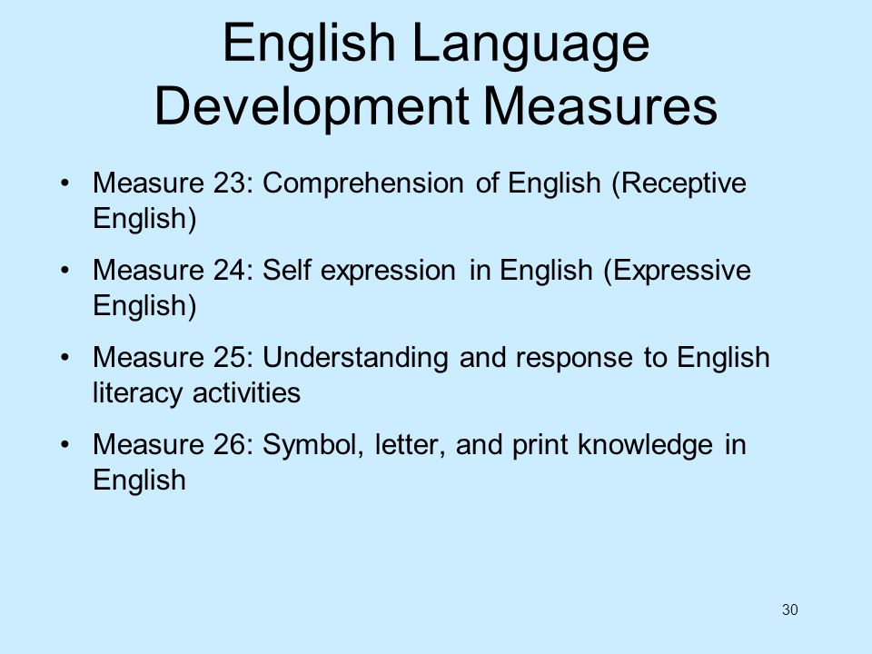 English Language Development Measures