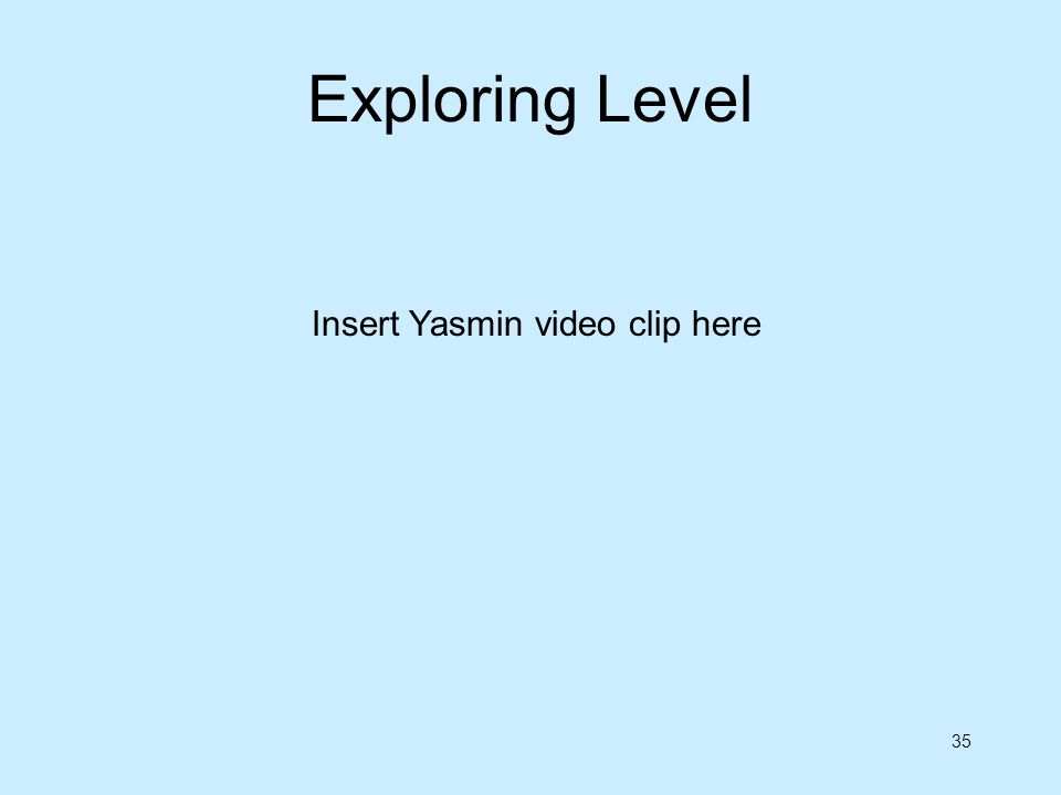 Exploring Level Insert Yasmin video clip here