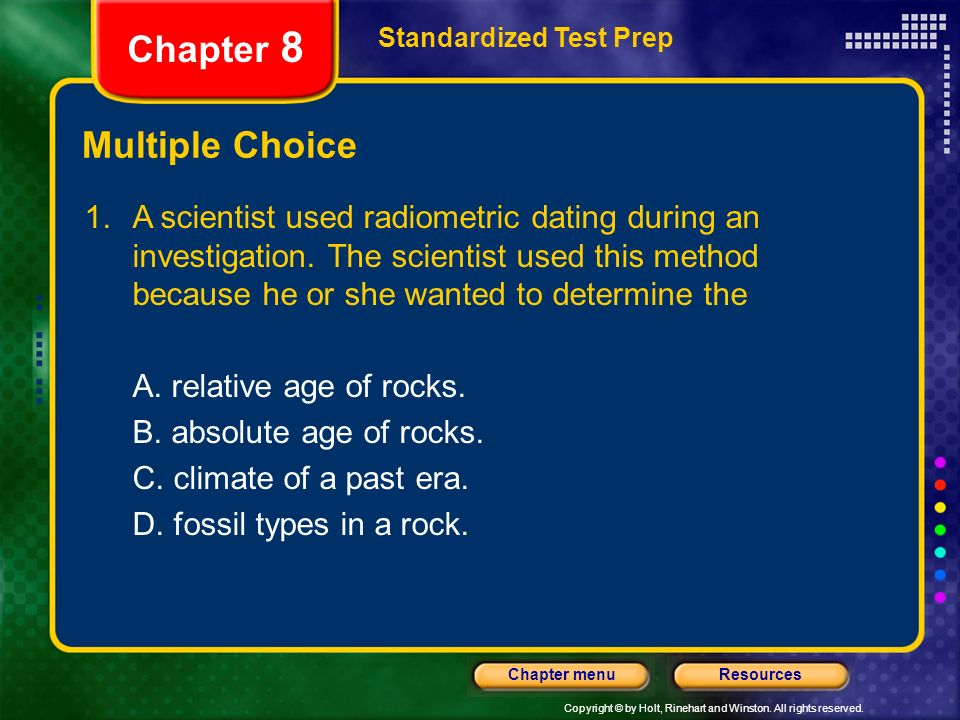 Radiometric dating multiple choice questions