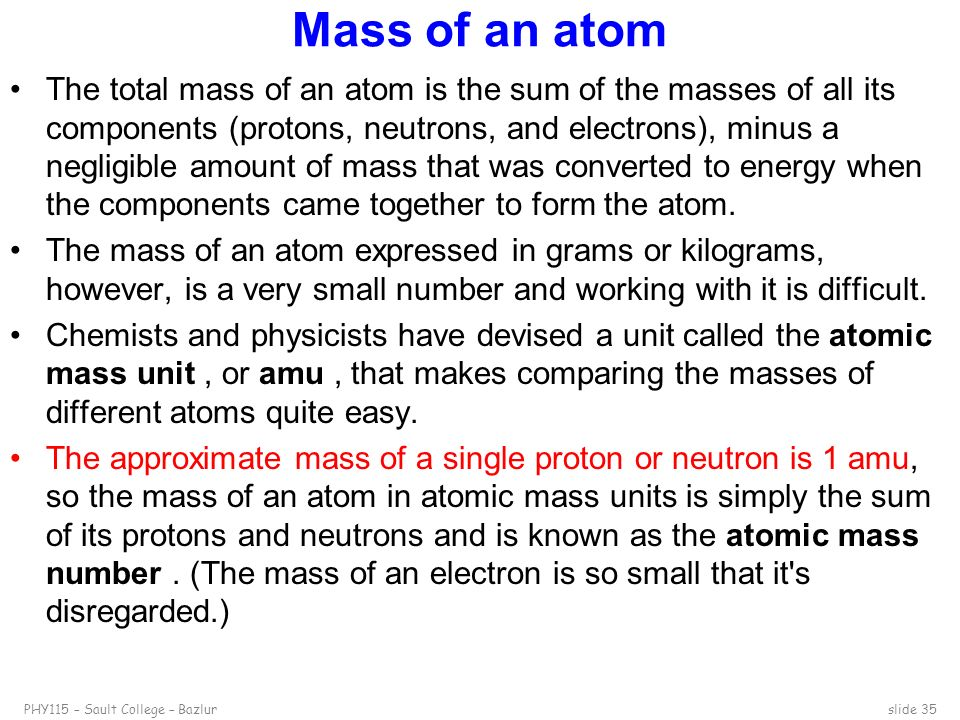 Mass of an atom