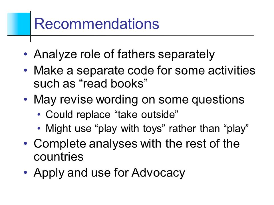 Recommendations Analyze role of fathers separately