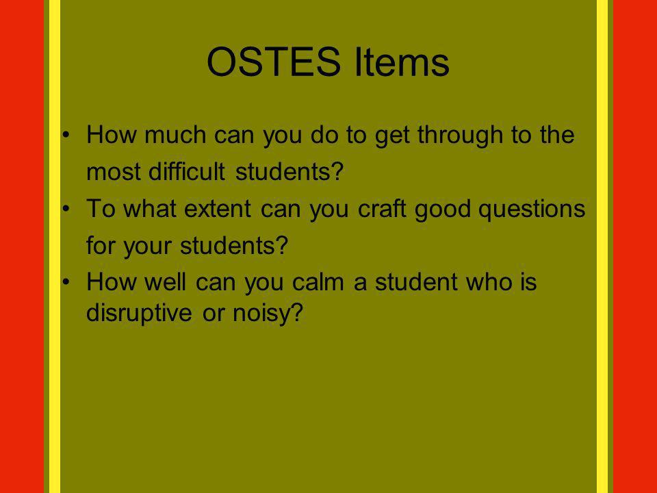 OSTES Items How much can you do to get through to the