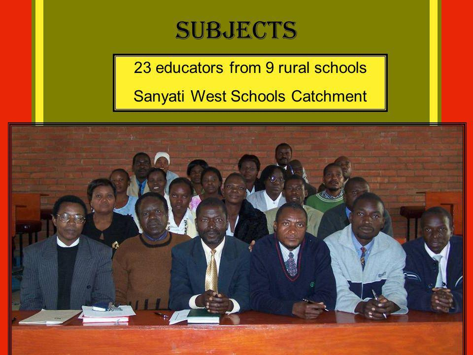 Subjects 23 educators from 9 rural schools
