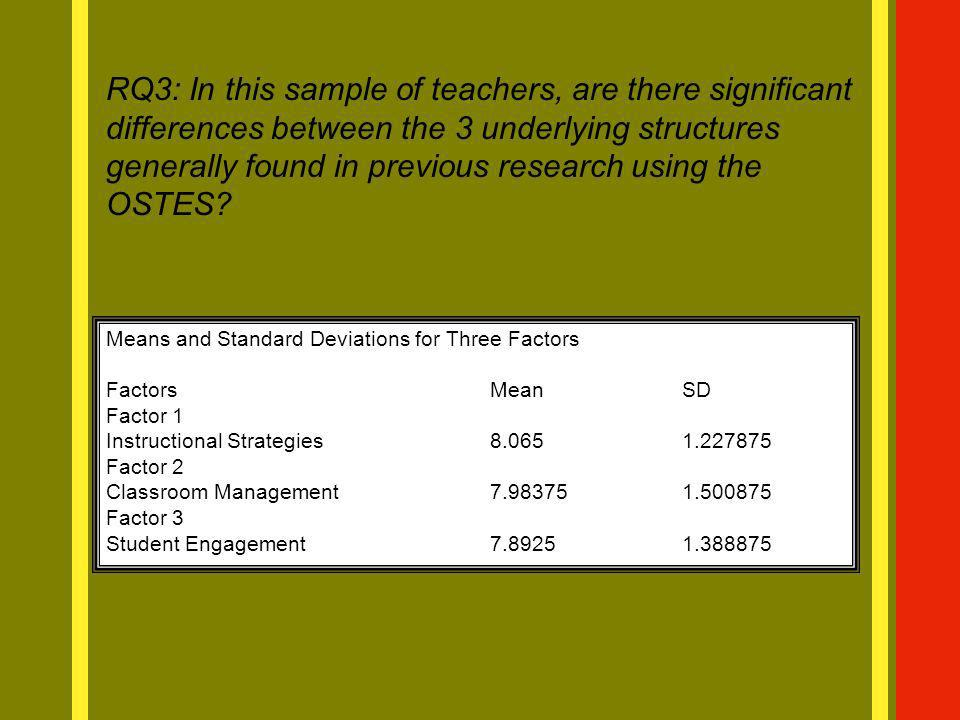 RQ3: In this sample of teachers, are there significant differences between the 3 underlying structures generally found in previous research using the OSTES