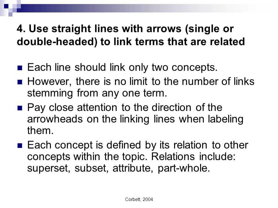 Each line should link only two concepts.