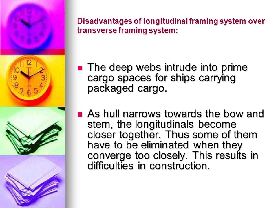 Disadvantages of longitudinal framing system over transverse framing system: