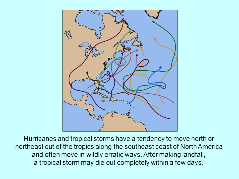 Hurricanes and tropical storms have a tendency to move north or