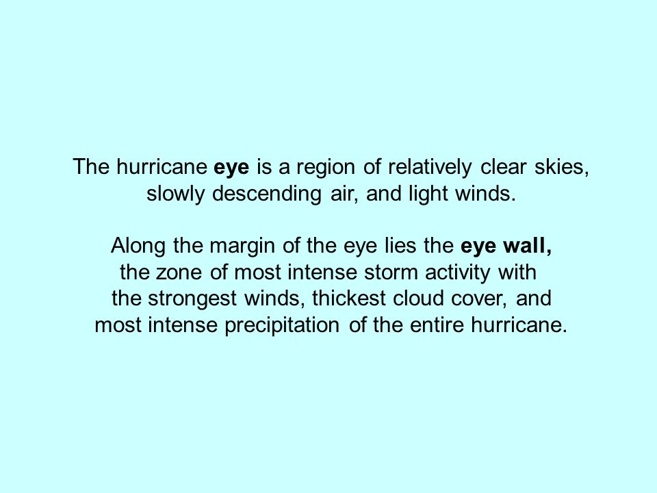 The hurricane eye is a region of relatively clear skies,