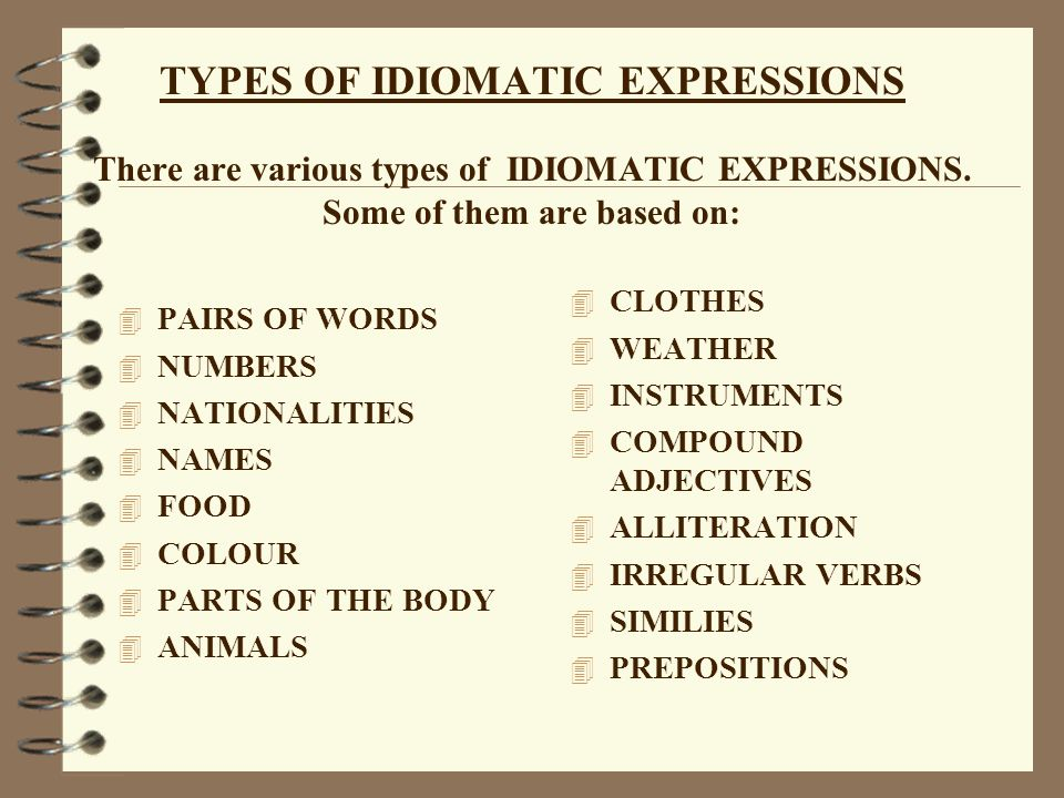 TYPES OF IDIOMATIC EXPRESSIONS There are various types of IDIOMATIC EXPRESSIONS. Some of them are based on:
