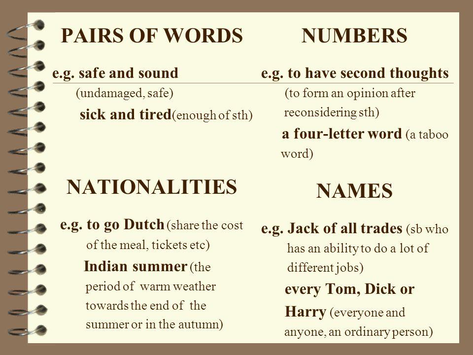 PAIRS OF WORDS NATIONALITIES NUMBERS NAMES