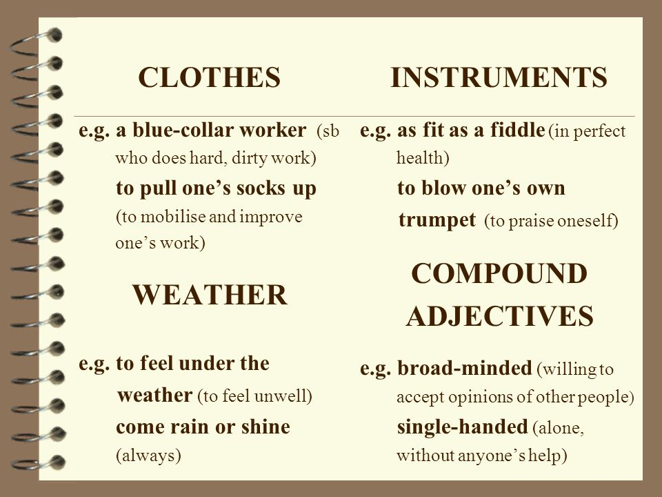 CLOTHES WEATHER INSTRUMENTS COMPOUND ADJECTIVES