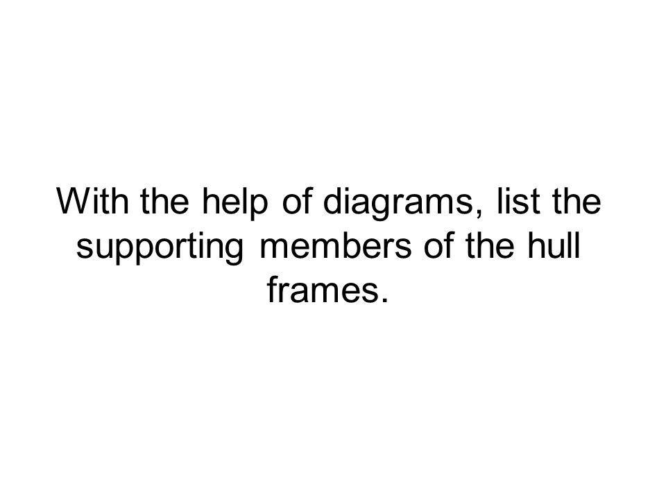 With the help of diagrams, list the supporting members of the hull frames.